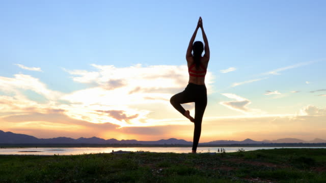 silhouette asian women are exercising with yoga outside near the river in the evening. - tappetino video stock e b–roll