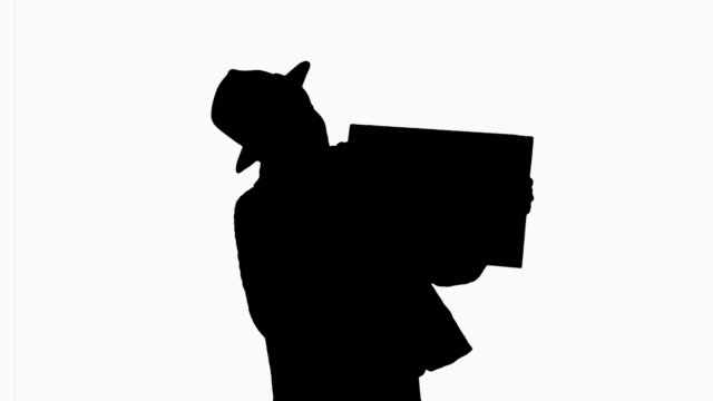 Silhouette Attractive young african american female showing and pointing at blank board