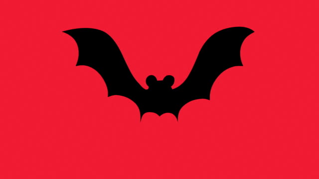 Silhouette bat on a red background video