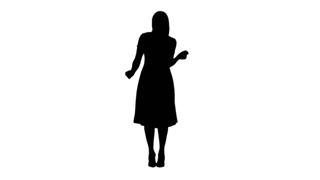 Silhouette Blonde lady dancing in pink dress Full length portrait. Silhouette Blonde lady dancing in pink dress. Professional shot in 4K resolution. 005. You can use it e.g. in your commercial video, business, presentation, broadcast silhouette people stock videos & royalty-free footage