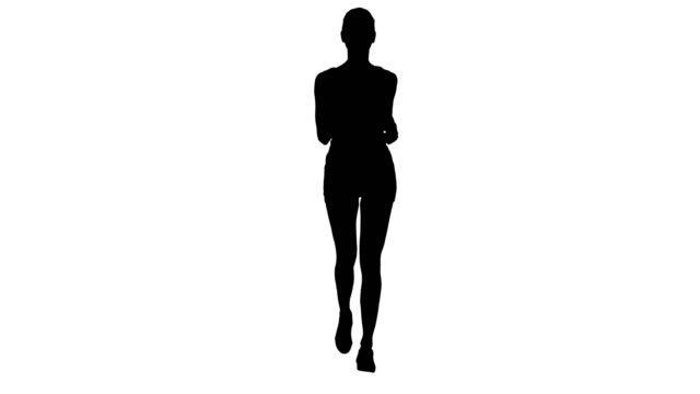 Silhouette Blonde young woman running