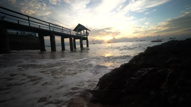 海上日出的剪影橋 - 州立公園 個影片檔及 b 捲影像