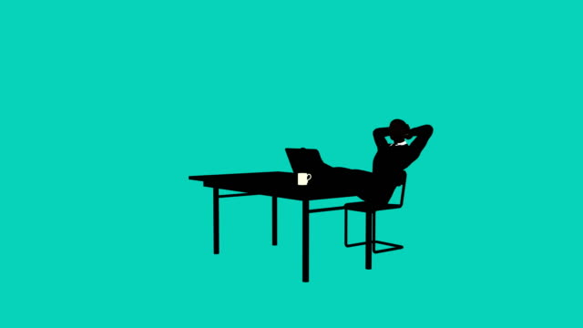 Silhouette businessman desk animation Silhouette style businessman animation of an office worker stretching office illustrations videos stock videos & royalty-free footage