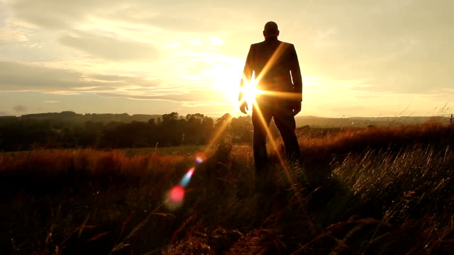 Silhouette Businessman Finding Success video