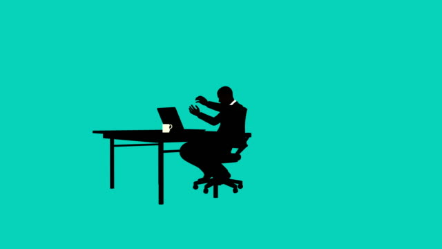 Silhouette businessman Upset at desk animation Silhouette style businessman animation of an office worker getting frustrated at his computer office illustrations videos stock videos & royalty-free footage