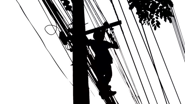 Silhouette Electrician wiring Newly on Pole video