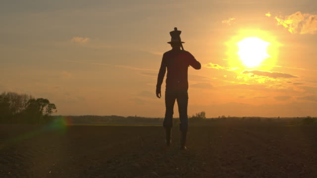 vídeos de stock e filmes b-roll de ms silhouette farmer carrying hoe in idyllic,rural plowed field at sunset - farmer