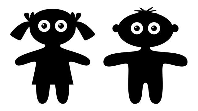Silhouette kids blinking, seamless loop video