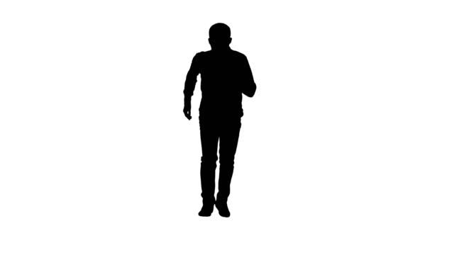 silhouette mann lässig beschleunigung und beginnt schnell laufen - mann bart freisteller stock-videos und b-roll-filmmaterial