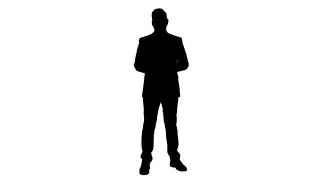 Silhouette Man in formal clother with a headset presenting something