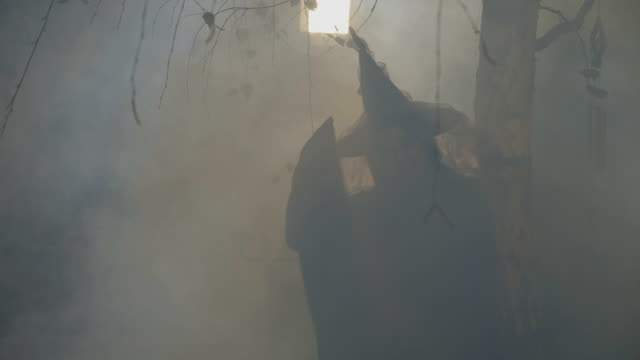 Silhouette of a black female witch playing with her hat on halloween night video