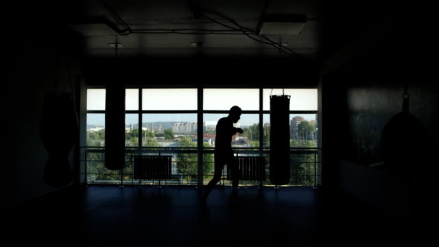 silhouette of a boxer in the hall video