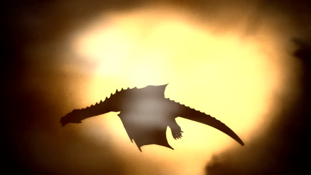 silhouette of a dragon flying against the sun waving his wings - dragon stock videos and b-roll footage