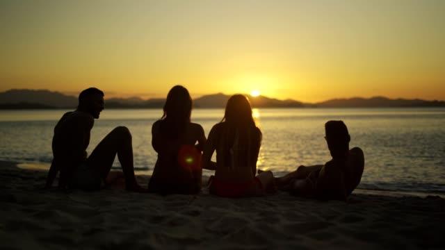 silhouette einer gruppe von freunden, die spaß am strand haben - spring break stock-videos und b-roll-filmmaterial