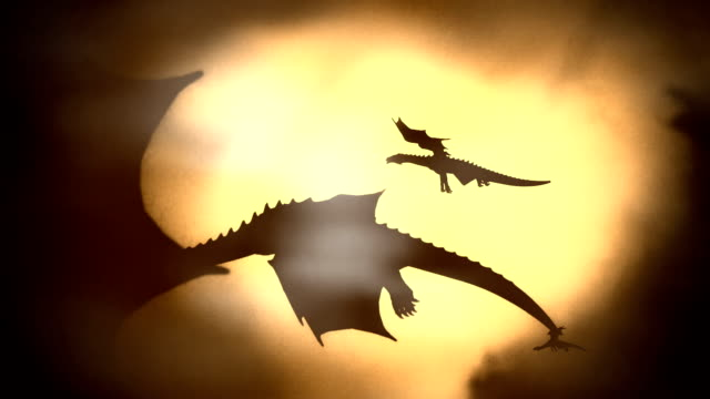 silhouette of a herd of dragon flying against the sun waving their wings - dragon stock videos and b-roll footage