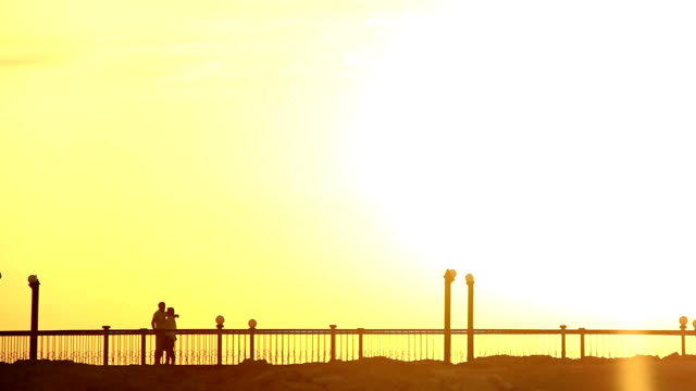Silhouette Of A Loving Couple Embrace and Kiss At Dawn on the Bridge video
