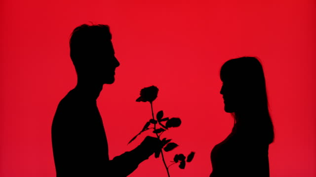 Silhouette of a man giving a rose to his girlfriend on a red background