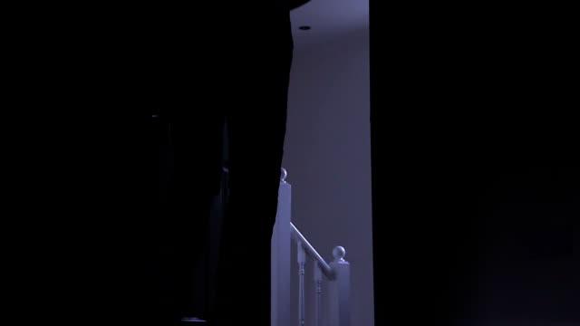 silhouette eines mannes, die dunklen zimmer, von links nach rechts. - mann tür heimlich stock-videos und b-roll-filmmaterial