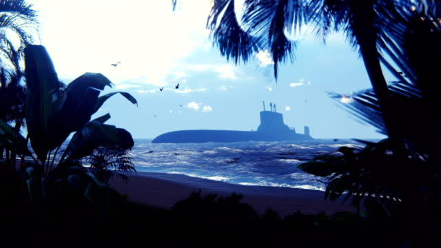 vídeos de stock e filmes b-roll de silhouette of a military nuclear submarine near a deserted tropical island. beautiful looped background. - torpedo