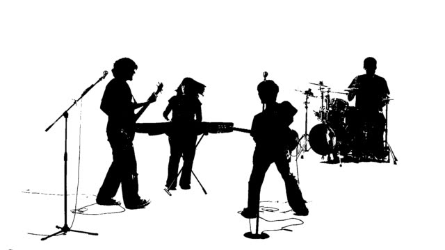 Silhouette of a punk rock style band video