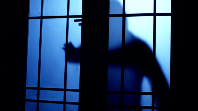 Silhouette of a thief man approach to the door and open it for entering to the room, but he listen alarm or see anybody and escape Silhouette of a thief man approach to the door and open it for entering to the room, but he listen alarm or see anybody and escape hiding stock videos & royalty-free footage