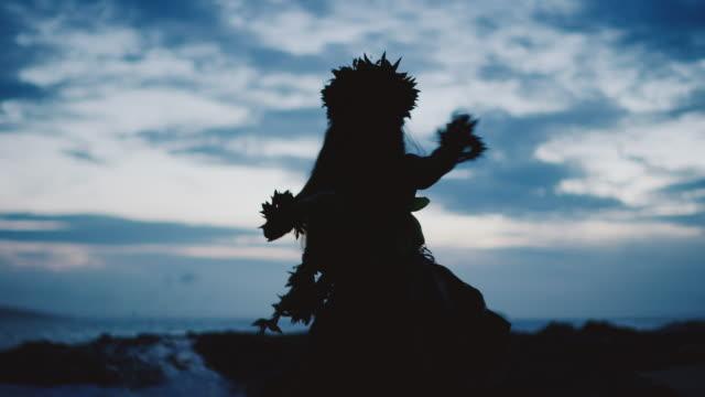 Silhouette of a traditional Hawaiian hula dancer video