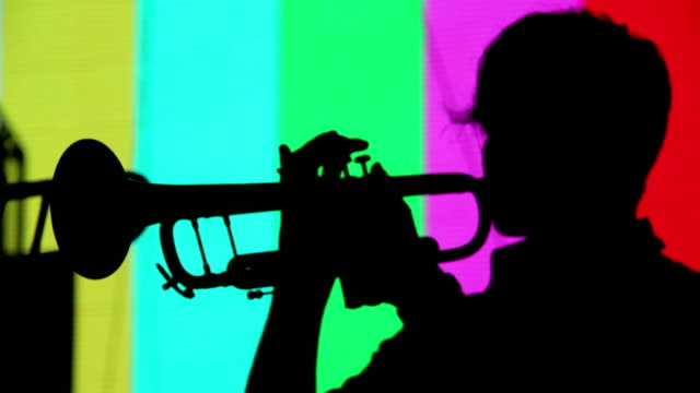 Silhouette of a trumpet player video