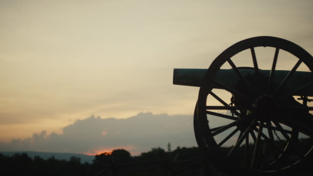 Silhouette of a US Civil War Cannon from Gettysburg National Military Park, Pennsylvania at Sunset