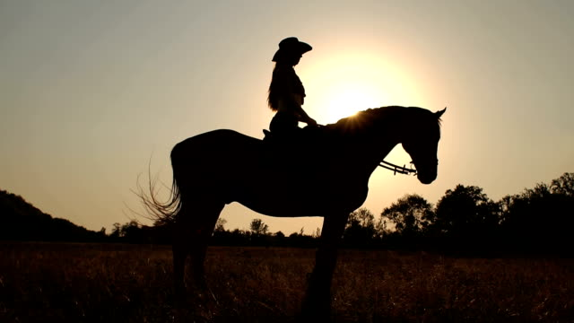 Silhouette of a woman riding a horse at sunset. Silhouette of a woman riding a horse in the background sunset or sunrise in the field, slow motion. cowgirl stock videos & royalty-free footage