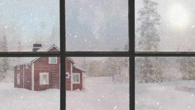 vídeos de stock e filmes b-roll de silhouette of a wooden window overlooking the red house. beautiful winter landscape with falling snow. - background christmas snow