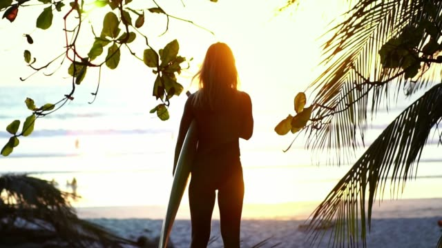 vidéos et rushes de silhouette de la belle fille de surfeur sur la plage au coucher du soleil - mode de la plage