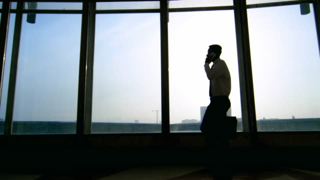 Silhouette of Businessman Talking on Phone