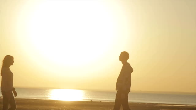 Silhouette Of Couple In Love On The Beach video