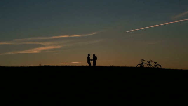 Silhouette of  Fabulous Couple With Tandem Bicycles Jumping With Holding Hands  Against  Sunset On The Backgrund Close Up