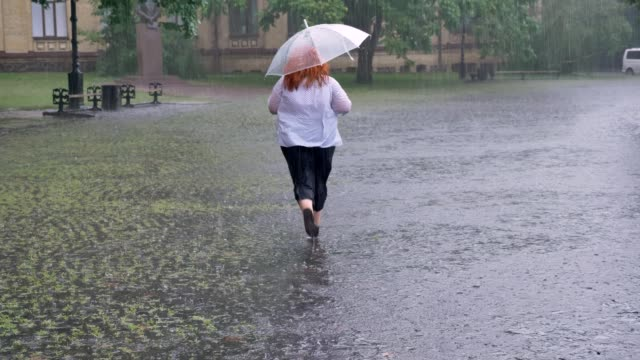 Silhouette of fat ginger girl is running in park under rain, holding umbrella, back view Silhouette of fat ginger girl is running in park under rain, holding umbrella, back view. drenched stock videos & royalty-free footage