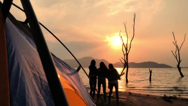 silhouette of friends camping drinking,Camping,Summer holidays and vacation concept.Camping