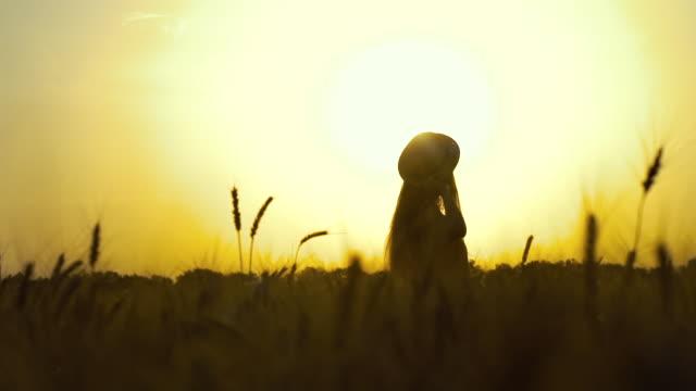silhouette des mädchens beobachten sonnenuntergang in weizenfeld - strohhut stock-videos und b-roll-filmmaterial