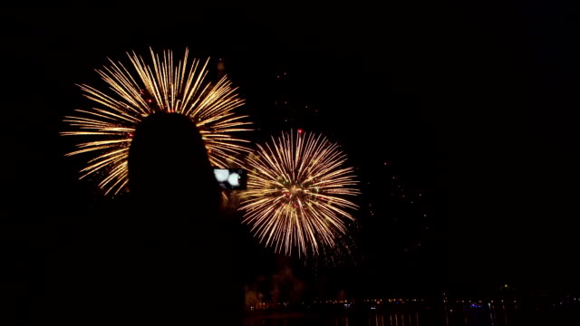 Silhouette of girl with smartphone on background of colorful fireworks.