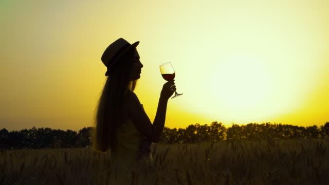 silhouette des mädchens mit weinglas in der landschaft - strohhut stock-videos und b-roll-filmmaterial
