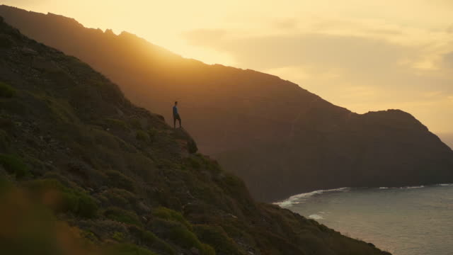 SLO MO WS Silhouette of man admiring coast at sunset / La Gomera, Canary Islands, Spain