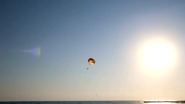 vídeos de stock, filmes e b-roll de silhueta de parapente imponente sobre o mar ao pôr do sol - paraquedismo