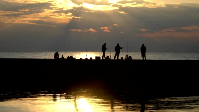 Silhouette of people fishing on pier video