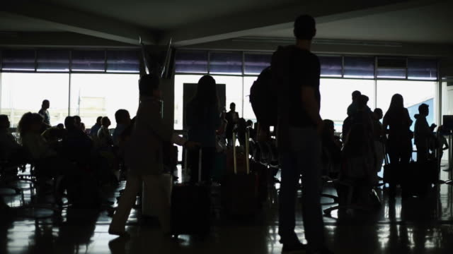 Silhouette of people waiting at Airport Terminal video