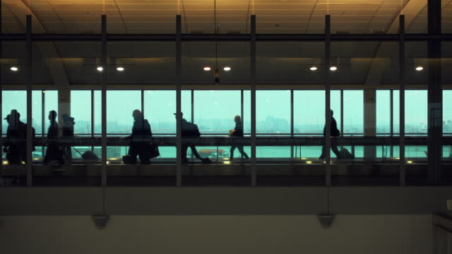 silhouette of people who are embarking on a flight in rome airport. - vacanze video stock e b–roll