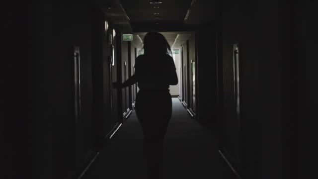 Silhouette of Running Businesswoman video