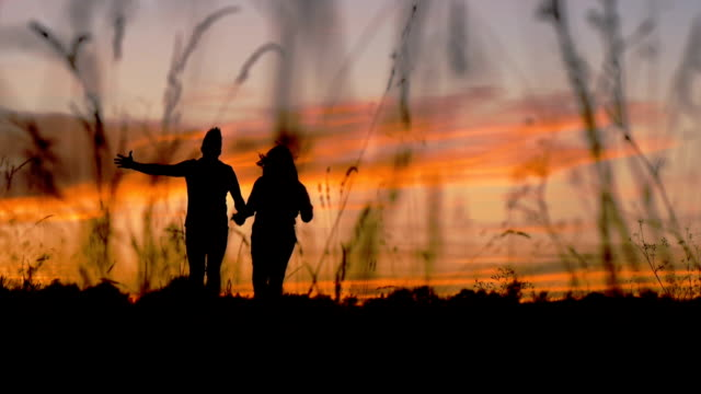 Silhouette of running couple video