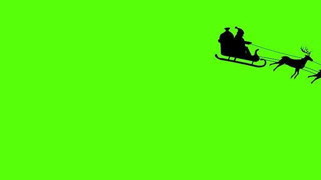vídeos de stock e filmes b-roll de silhouette of santa claus pulled by reindeer, green screen animation - pai natal