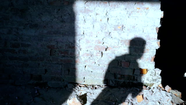 Silhouette of shadow of kickboxer doing exercise for the big fight in catacomb video