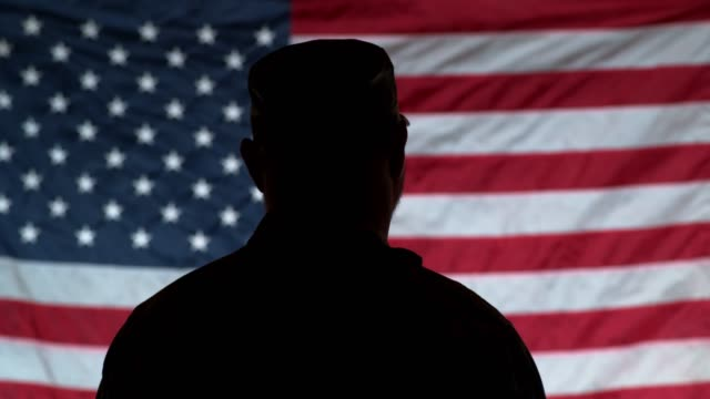 Silhouette of soldier saluting with American flag in background Silhouette of soldier saluting with American flag in background veteran stock videos & royalty-free footage