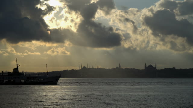 Silhouette of Transportation Ship and Historical Istanbul Landscape video